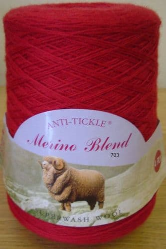King Cole Pure Wool Yarn 500g Cone 4ply - Cranberry