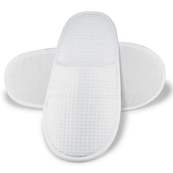 Closed Toe Waffle Slippers, White  29cm (Case of 100)