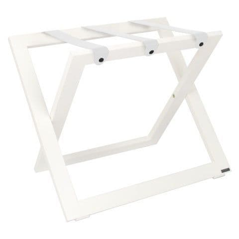 Compact Wooden Luggage Rack, White with Leather Straps