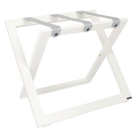 Compact Wooden Luggage Rack, White with Nylon Straps