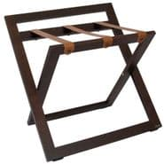 Compact Wooden Luggage Rack with Backstand and  Leather Straps, Walnut