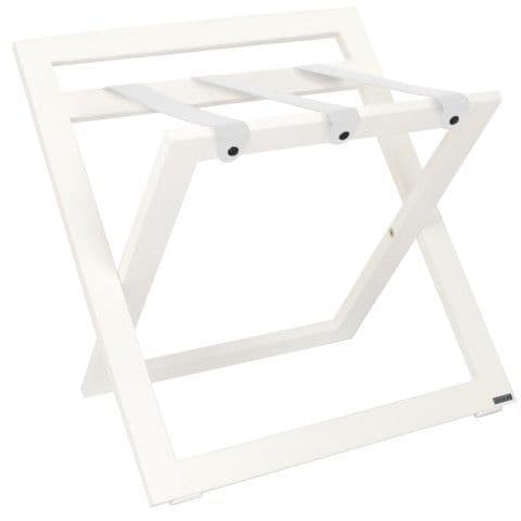 Compact Wooden Luggage Rack with Backstand and Leather Straps, White