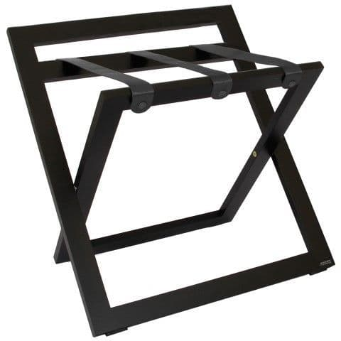 Compact Wooden Luggage Rack with Backstand and Nylon Straps, Black