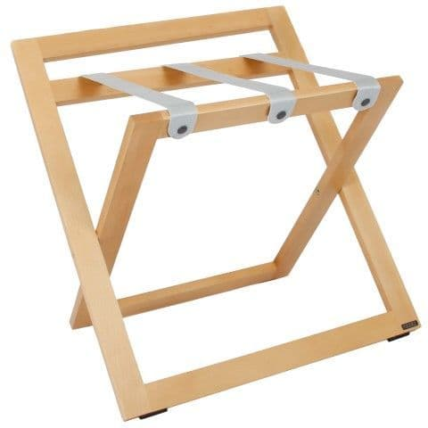Compact Wooden Luggage Rack with Backstand and Nylon Straps, Natural