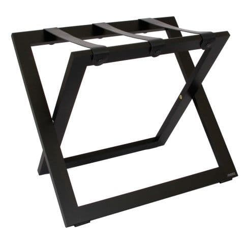 Compact Wooden Luggage Rack, with Leather Straps, Black