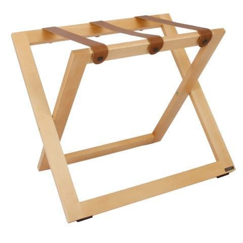 Compact Wooden Luggage Rack with Leather Straps, Natural