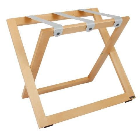 Compact Wooden Luggage Rack, with Nylon Straps, Natural