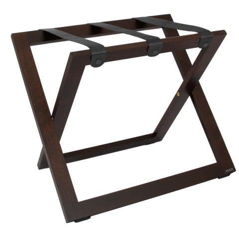 Compact Wooden Luggage Rack, with Nylon Straps, Walnut