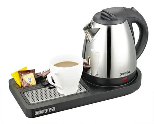 Corby Buckingham Compact Welcome Tray with Kettle, Black (Case of 6)