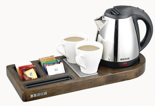 Corby Buckingham Standard Welcome Tray with Kettle, Dark Wood (Case of 6)