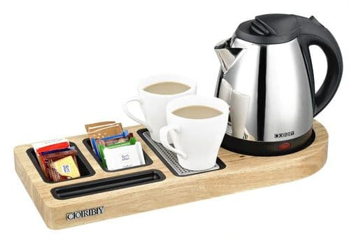 Corby Buckingham Standard Welcome Tray with Kettle, Light Wood (Case of 6)