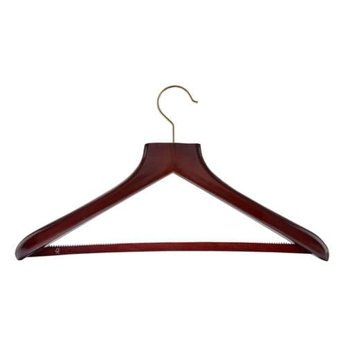 FSC Certified Mahogany Jacket Hangers with chrome hook (case of 24)