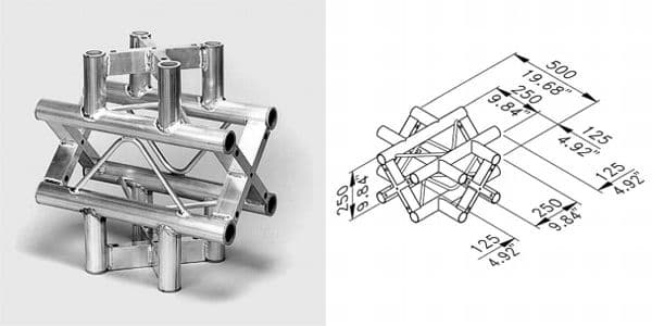 ST-System Square Truss 4-way X junction